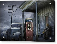 Man Lost In Thought By The Vintage Gas Station Acrylic Print by Randall Nyhof