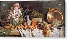 Still Life With Flowers And Fruit On A Table Acrylic Print by Alfred Petit