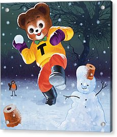 Teddy Bear Throwing Snowballs Acrylic Print by William Francis Phillipps
