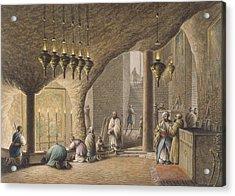 The Grotto Of The Nativity In Bethlehem Acrylic Print by Luigi Mayer