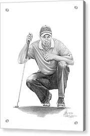 Tiger Woods Crouching Tiger Acrylic Print by Murphy Elliott