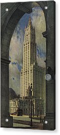 View Of The Woolworth Building Acrylic Print by American School