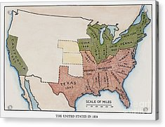 United States Map, 1854 Acrylic Print by Granger