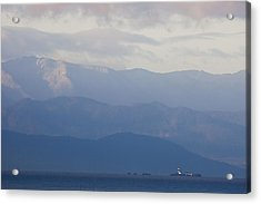 A Lighthouse At Sunset With The Olympic Acrylic Print by Taylor S. Kennedy