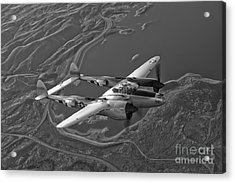 A Lockheed P-38 Lightning Fighter Acrylic Print by Scott Germain
