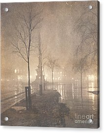 A Wet Night  Columbus Circle Acrylic Print by William Fraser