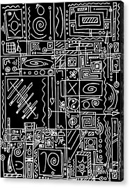 Abstract Black And White Symbolic Message Original Drawing Art By Madart Acrylic Print by Megan Duncanson