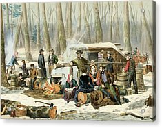 American Forest Scene Maple Sugaring Acrylic Print by Currier and Ives
