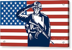American Soldier Saluting Flag Acrylic Print by Aloysius Patrimonio