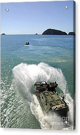 Amphibious Assault Vehicles Exit Acrylic Print by Stocktrek Images