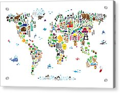Animal Map Of The World For Children And Kids Acrylic Print by Michael Tompsett