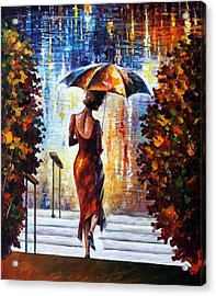 At The Steps Acrylic Print by Leonid Afremov