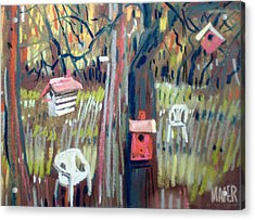 Backyard And Birdhouses Acrylic Print by Donald Maier