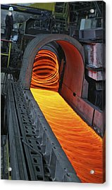 Bar-rolling Mill Processing Molten Metal Acrylic Print by Ria Novosti