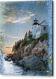 Bass Harbor Lighthouse On Maine Nautical Chart Acrylic Print by Jeff Folger