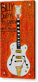 Billy Duffy Gretsch White Falcon Acrylic Print by Karl Haglund