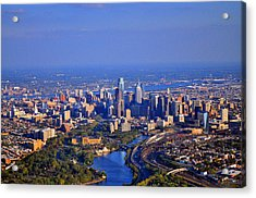 1 Boathouse Row Philadelphia Pa Skyline Aerial Photograph Acrylic Print by Duncan Pearson
