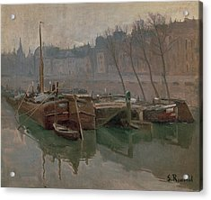 Boats On The Seine Acrylic Print by MotionAge Designs