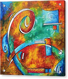 Bold Colorful Abstract Pop Art Original Contemporary Painting By Megan Duncanson Fire And Ice Acrylic Print by Megan Duncanson