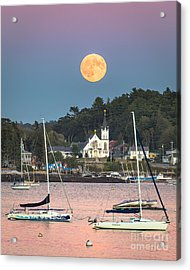 Boothbay Harbor Supermoon Acrylic Print by Benjamin Williamson