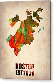 Boston Watercolor Map  Acrylic Print by Naxart Studio