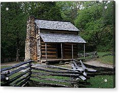 Cades Cabin Acrylic Print by Laurie Perry
