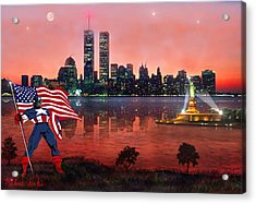 Captain America Acrylic Print by Michael Rucker