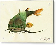 Channel Catfish Fish Animal Watercolor Painting Acrylic Print by Juan  Bosco