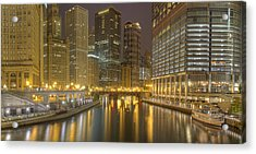 Chicago River At Night Acrylic Print by Twenty Two North Photography