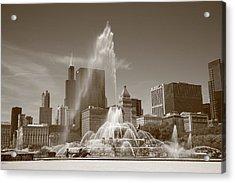 Chicago Skyline And Buckingham Fountain Acrylic Print by Frank Romeo