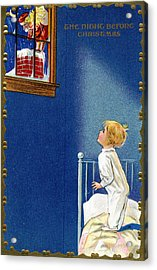 Child Watches As Santa Comes Down Chimney On Christmas Eve Acrylic Print by American School