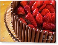 Chocolate And Strawberry Cake Acrylic Print by Carlos Caetano