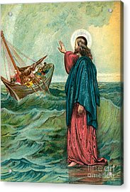 Christ Walking On The Sea Acrylic Print by English School