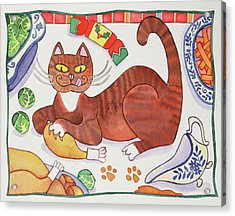 Christmas Cat And The Turkey Acrylic Print by Cathy Baxter