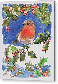 Christmas Robin Acrylic Print by Diane Matthes