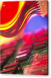Circuit Board Acrylic Print by Chris Knapton