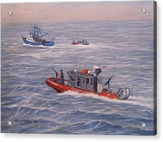 Coast Guard In Pursuit Acrylic Print by William H RaVell III