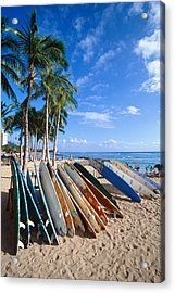 Colorful Surfboards On Waikiki Beach Acrylic Print by George Oze