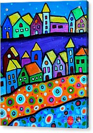 Colorful Town Acrylic Print by Pristine Cartera Turkus