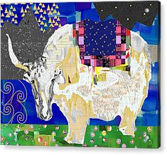 Stay Curious Cow Collage  Acrylic Print by Claudia Schoen