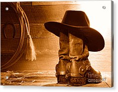Cowboy Hat On Boots - Sepia Acrylic Print by Olivier Le Queinec