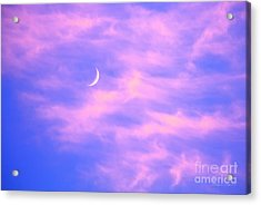 Crescent Moon Behind Cirrus Cloud In The Evening Acrylic Print by Gordon Wood
