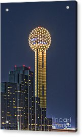 Dallas Reunion Tower Twilight Acrylic Print by Tod and Cynthia Grubbs
