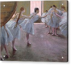 Dancers At Rehearsal Acrylic Print by Edgar Degas