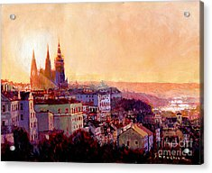 Sundown Over Prague Acrylic Print by Yuriy Shevchuk