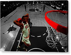 Derrick Rose Taking Flight Acrylic Print by Brian Reaves
