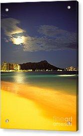 Diamond Head And Waikiki Acrylic Print by William Waterfall - Printscapes