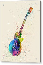 Electric Guitar Abstract Watercolor Acrylic Print by Michael Tompsett