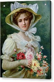 Elegant Lady With A Bouquet Of Roses Acrylic Print by Emile Vernon