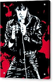 Elvis Acrylic Print by Luis Ludzska